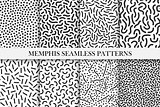 Collection of retro memphis patterns - trendy seamless swatches. Fashion 80-90s.