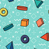 Memphis seamless patterns - colorful geometric 3d shapes.
