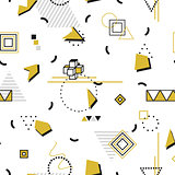 Memphis seamless pattern - gold shapes. Fashion design 80-90s.