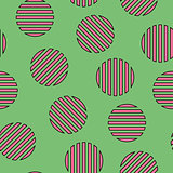 Memphis seamless pattern with striped mosaic circles. Fashion style 80-90s.