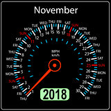 Year 2018 calendar speedometer car in concept November