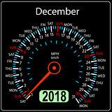Year 2018 calendar speedometer car in concept. December