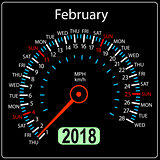 Year 2018 calendar speedometer car in concept February