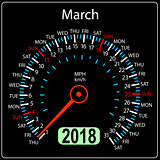 Year 2018 calendar speedometer car in concept. March