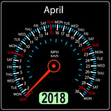 Year 2018 calendar speedometer car in concept. April