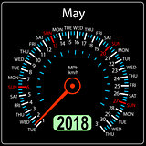 Year 2018 calendar speedometer car in concept. May