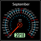 Year 2018 calendar speedometer car in concept. September
