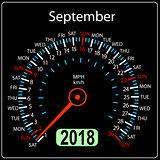 Year 2018 calendar speedometer car in concept. September