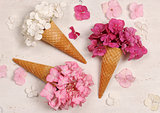 ice cream cones with hydrangea flowers