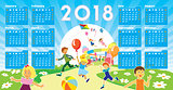 Children with Calendar 2018