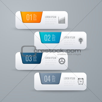 Business infographics template 4 steps with square