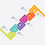 Modern infographics six square process template