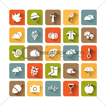Autumn icon set on colored squares with shade