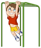 boy climbs monkey bars
