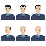 Hair loss stages and types of baldness.