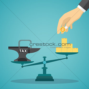 Businessman use coin balancing with TAX on scales.