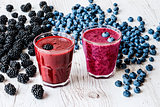healthy drinks. smoothies with blackberry and blueberry with ingredients.