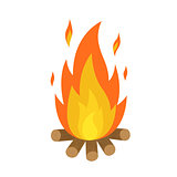 bonfire isolated with wood and flame fire white background vector illustration