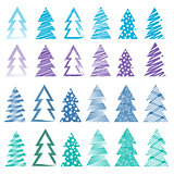 Christmas and New Year trees set, vector illustration collection, seasonal background