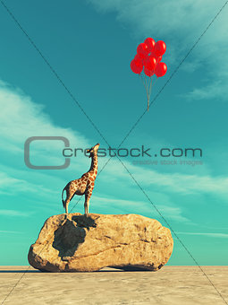A giraffe standing on a large rock