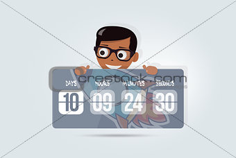 Countdown for site with happy boy. Cartoon timer background. Coming soon. Elements of web design for kindergarten, schools and colleges.