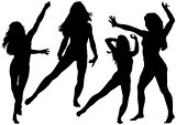 Silhouetted Dancing Young Woman