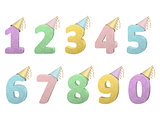 set of volume numbers with party hats