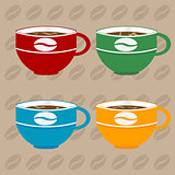Coffee cups over coffee beans background