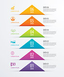 6 triangle timeline infographic options paper template with data
