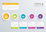 5 step circle timeline infographic options template with paper s