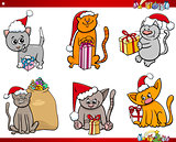 cats on Christmas time cartoon set