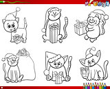 cats on Christmas time set coloring book