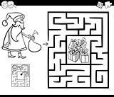 maze activity game with Santa Claus