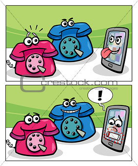 old phones and smart phone comics