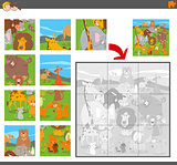 jigsaw puzzle game with cartoon animals