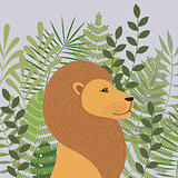 Lion in tropical sheets. Poster. Tropics