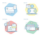 Set of concept line icons for business, management, marketing, e-commerce and shopping