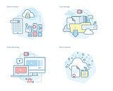Set of concept line icons for mobile services and solutions, cloud storage, video marketing, data protection