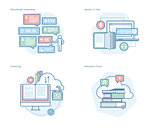 Set of concept line icons for education apps, networking, e-learning, education cloud