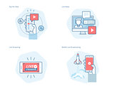 Set of concept line icons for live streaming, mobile broadcasting, pay per view, online video, news