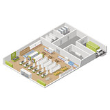 Grocery supermarket with storage rooms and goods unloading area isometric icon set
