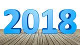 year 2018 on wooden floor