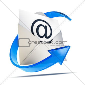 an envelope with an email sign