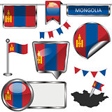 Glossy icons with flag of Mongolia