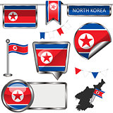 Glossy icons with flag of North Korea