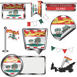 Glossy icons with flag of province Prince Edward Island