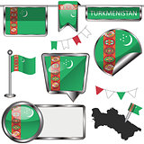 Glossy icons with flag of Turkmenistan