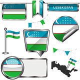 Glossy icons with flag of Uzbekistan
