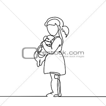 Little Girl hugs puppy