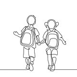 Boy and girl going back to school with bags.